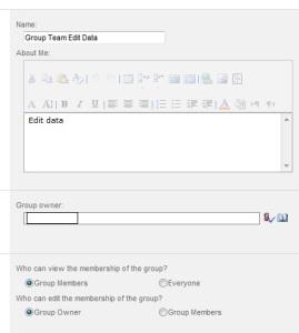 Group team edit data