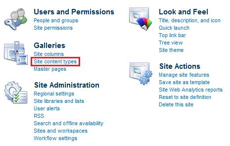 site content type